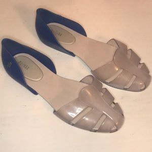 Melissa translucent and navy  jelly flat size 9